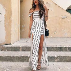 Mahina Off Shoulder Striped Maxi Dress Shorts